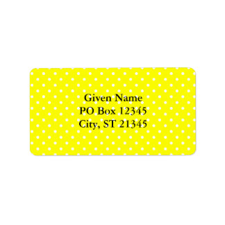 Yellow and White Polka Dot Pattern Personalized Address Labels