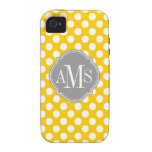 Yellow and White Polka Dot Pattern Monogram Vibe iPhone 4 Cover