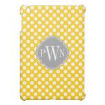 Yellow and White Polka Dot Pattern Monogram iPad Mini Covers