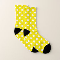 Yellow and White Polka Dot Pattern Socks