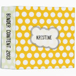 Yellow and white polka dots binders