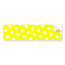 Yellow and White Polka Dots Bumper Sticker