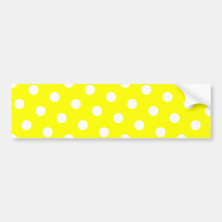 Yellow and White Polka Dots Car Bumper Sticker