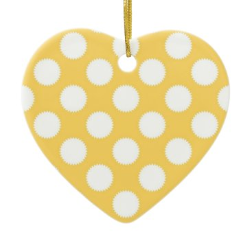 Beach Themed Yellow and White Polka Dots Ceramic Ornament