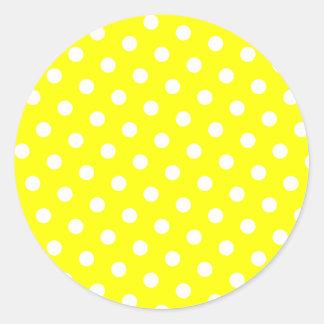 Yellow and White Polka Dots Classic Round Sticker