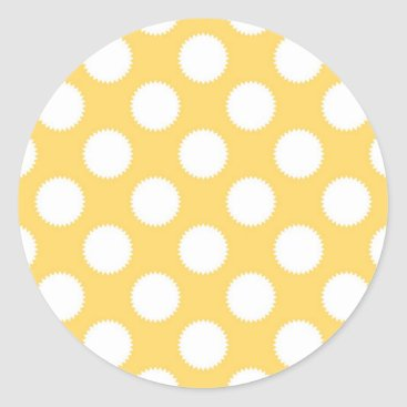 Beach Themed Yellow and White Polka Dots Classic Round Sticker