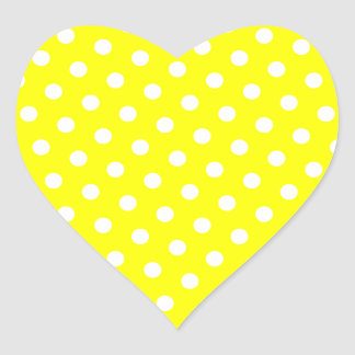 Yellow and White Polka Dots Heart Sticker
