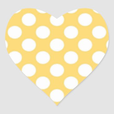 Beach Themed Yellow and White Polka Dots Heart Sticker