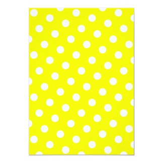 Yellow and White Polka Dots 5x7 Paper Invitation Card