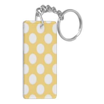 Beach Themed Yellow and White Polka Dots Keychain