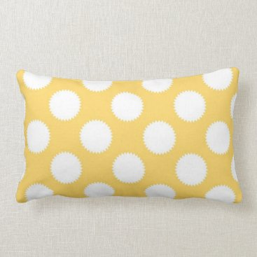 Beach Themed Yellow and White Polka Dots Lumbar Pillow