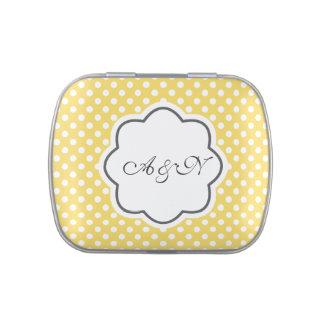 Yellow and White Polka Dots Monogram Tin Jelly Belly Tins