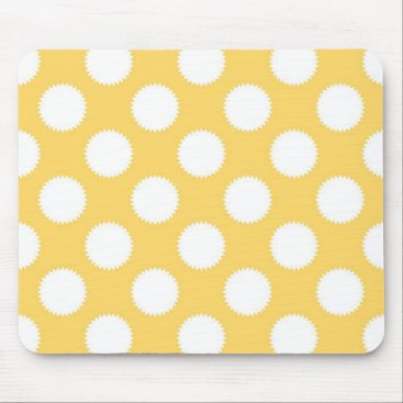 Beach Themed Yellow and White Polka Dots Mouse Pad