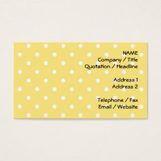 Yellow and White Polka Dots Pattern. Business Card