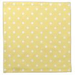 Yellow and White Polka Dots Pattern. Cloth Napkins