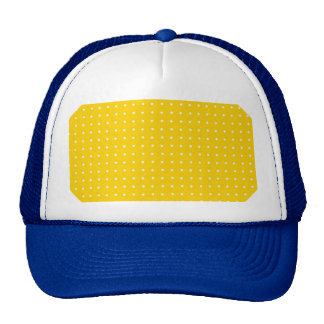 Yellow and White Polka Dots Pattern Mesh Hats