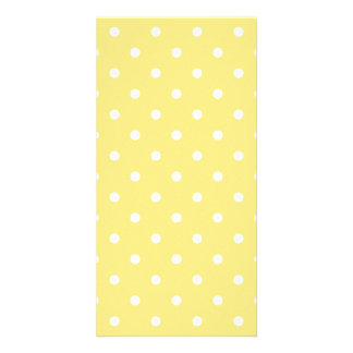 Yellow and White Polka Dots Pattern Customized Photo Card