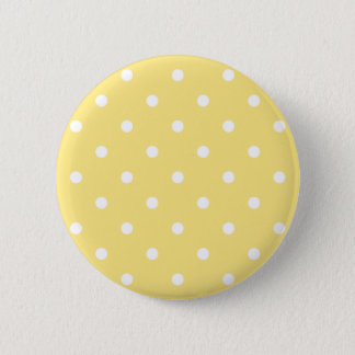 Yellow and White Polka Dots Pattern. Pinback Button