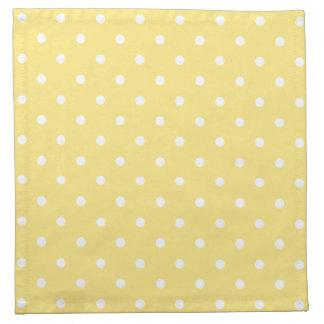 Yellow and White Polka Dots Pattern. Printed Napkin
