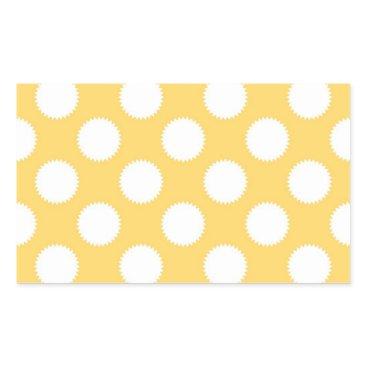 Beach Themed Yellow and White Polka Dots Rectangular Sticker