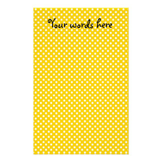Yellow and white polka dots stationery