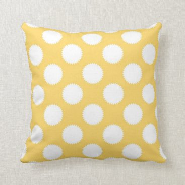 Beach Themed Yellow and White Polka Dots Throw Pillow