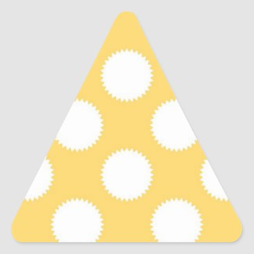 Beach Themed Yellow and White Polka Dots Triangle Sticker