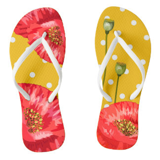 Yellow and White Polka Dots with Red Poppies Flip Flops