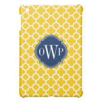 Yellow and White Quadrefoil Pattern Monogram Case For The iPad Mini