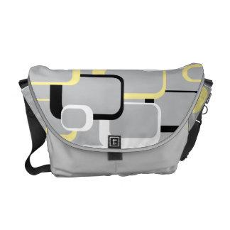 Yellow and White Retro Squares Rickshaw Messenger  Messenger Bag