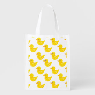Yellow and White Rubber Duck, Ducky Reusable Grocery Bag
