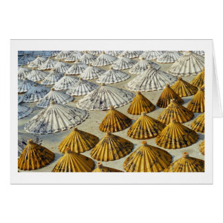 Yellow and White Saa-Paper Umbrellas (Thailand) Card