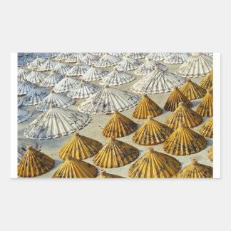 Yellow and White Saa-Paper Umbrellas (Thailand) Rectangular Sticker
