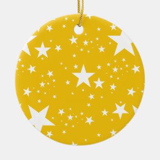 Yellow and White Stars pattern Ceramic Ornament
