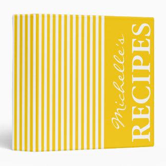 Yellow and white stripe design recipe binder book