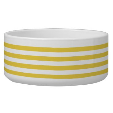 Beach Themed Yellow and White Stripe Pattern Bowl