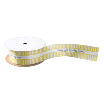 Yellow and White Stripe Pattern Happy Birthday Satin Ribbon