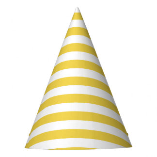 Yellow and White Stripe Pattern Party Hat