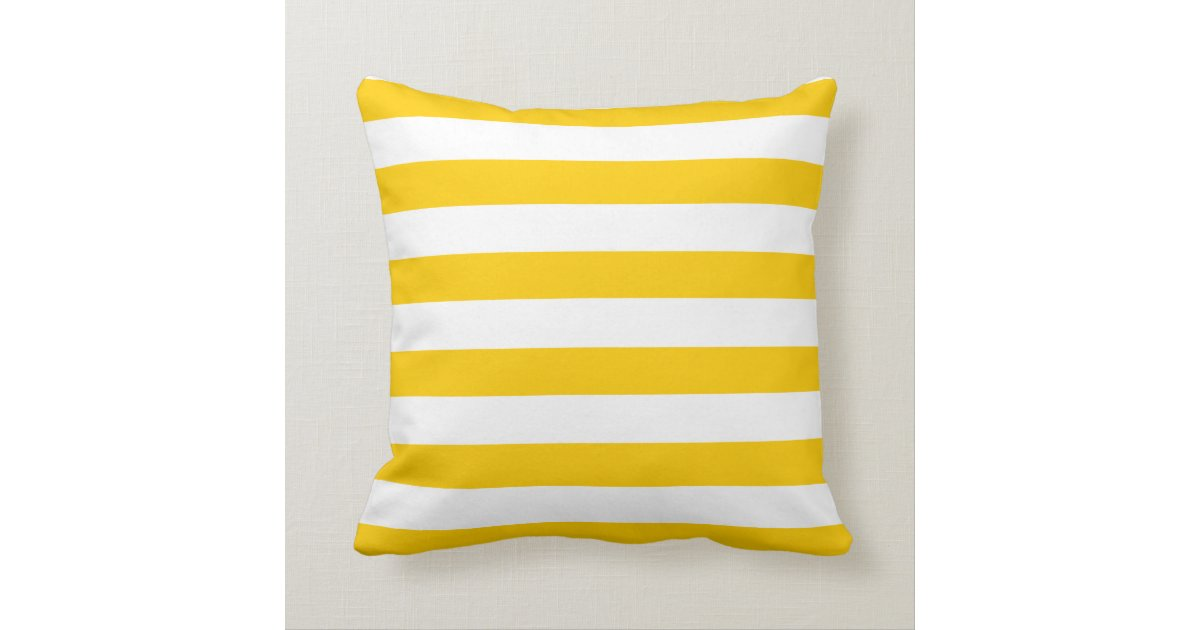 Yellow Striped Throw Pillows : Yellow and White Stripe Pattern Throw Pillow Zazzle