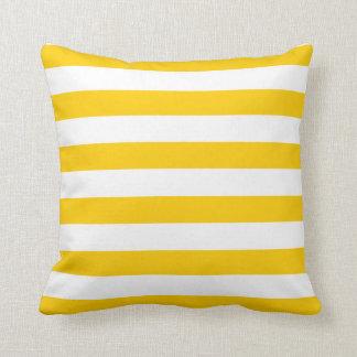 Yellow and White Stripe Pattern Throw Pillow