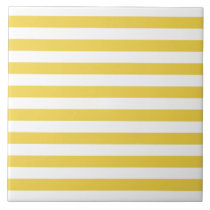 Yellow and White Stripe Pattern Tile