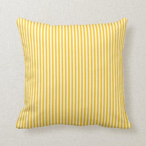 Yellow and White stripe throw pillow Zazzle