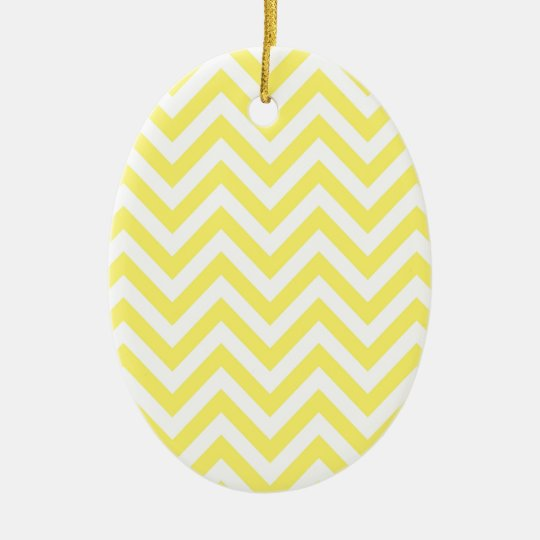 Yellow and White Stripe Zigzag Pattern Ceramic Ornament