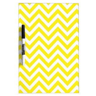 Yellow and White Stripe Zigzag Pattern Dry-Erase Board