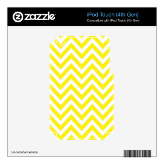 Yellow and White Stripe Zigzag Pattern iPod Touch 4G Decal