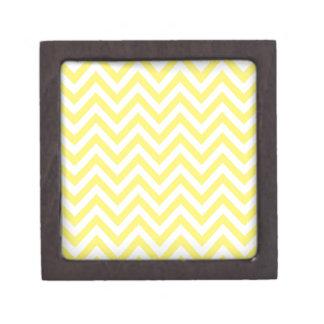 Yellow and White Stripe Zigzag Pattern Jewelry Box