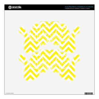 Yellow and White Stripe Zigzag Pattern PS3 Controller Decals
