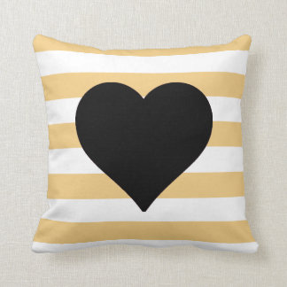 Yellow and White Striped Black Heart Throw Pillow