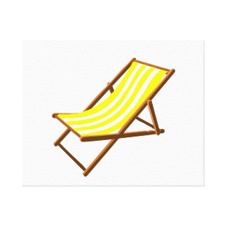 yellow and white striped wooden beach chair.png canvas prints