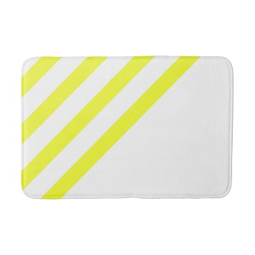 Beach Themed Yellow and White Stripes Bathroom Mat